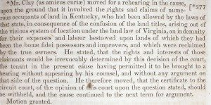 This passage, extracted from one of Henry Clay's own Supreme Court case report books, describes the first Amcius brief which he filed.