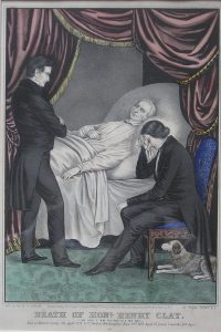 Henry Clay died on June 29, 1852 with his son Thomas at his side and Senator Jones of Tennessee at his foot