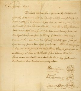 Henry Clay's law license issued by the State of Virginia on November 6, 1797. this copy is in the HCMF Henry Clay family Papers at the Univeristy of Kentucky.