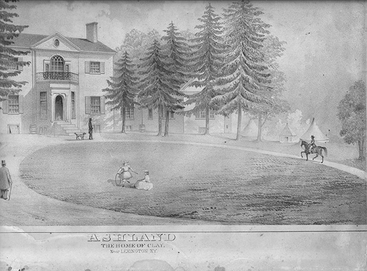 This engraving of the early Ashland shows the mansion and several outbuildings as they were in Henry Clay's time.